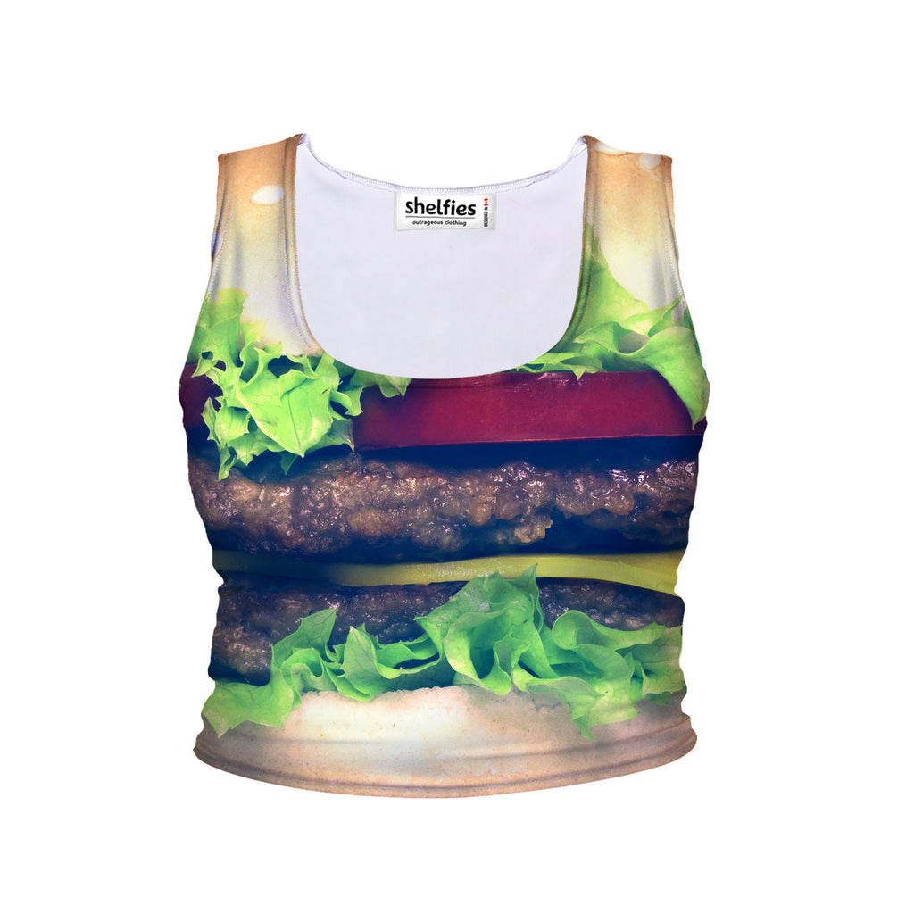 Burger Crop Tank-Shelfies-| All-Over-Print Everywhere - Designed to Make You Smile