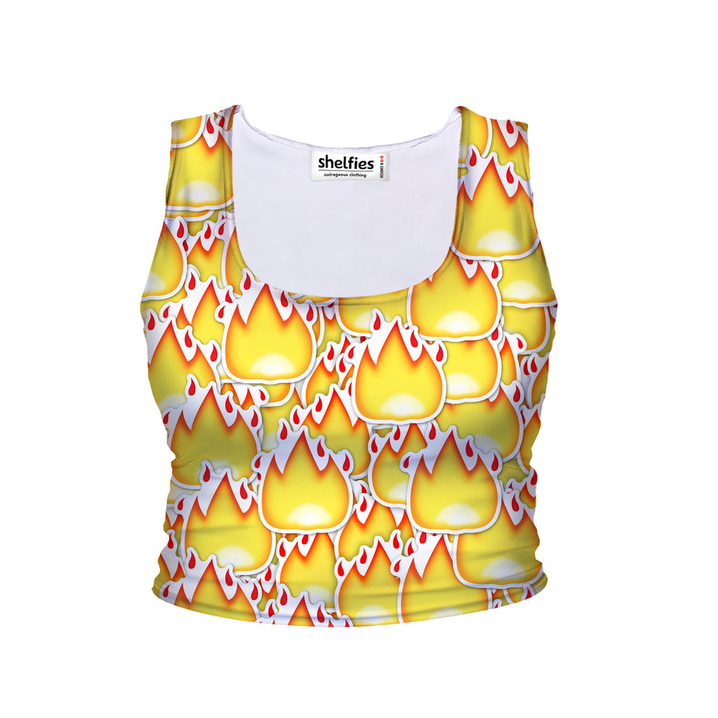 Crop Tanks - Fire Emoji Invasion Crop Tank