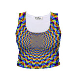 Fractal Pulse Crop Tank-Shelfies-| All-Over-Print Everywhere - Designed to Make You Smile