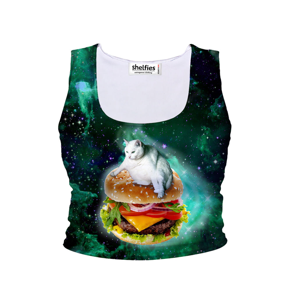 Hamburger Cat Crop Tank-Shelfies-| All-Over-Print Everywhere - Designed to Make You Smile