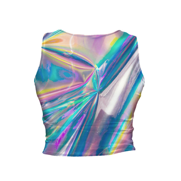 Holographic Foil Crop Tank-Shelfies-| All-Over-Print Everywhere - Designed to Make You Smile