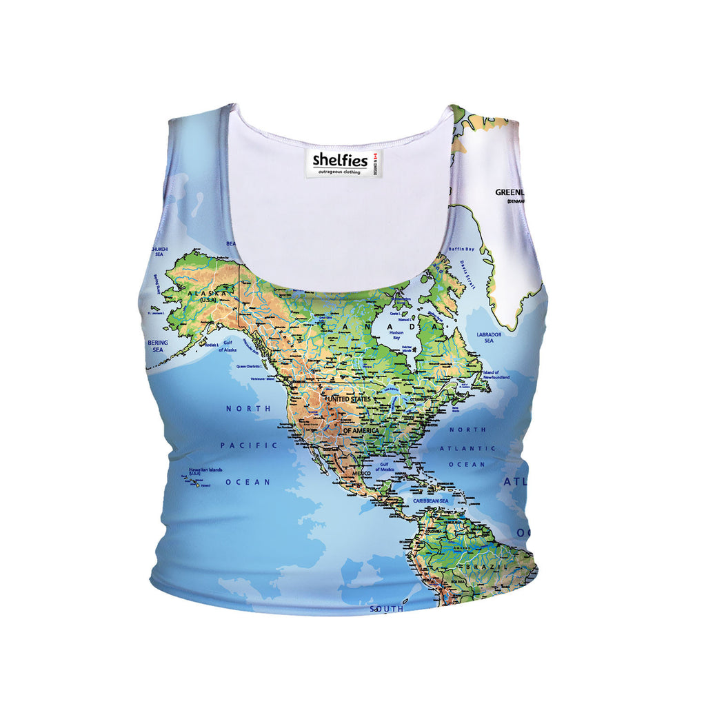 World Map Crop Tank-Shelfies-| All-Over-Print Everywhere - Designed to Make You Smile