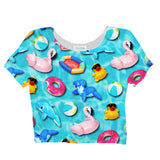 Pool Toys Crop Top-Shelfies-S-| All-Over-Print Everywhere - Designed to Make You Smile