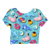 Pool Toys Crop Top-Shelfies-| All-Over-Print Everywhere - Designed to Make You Smile