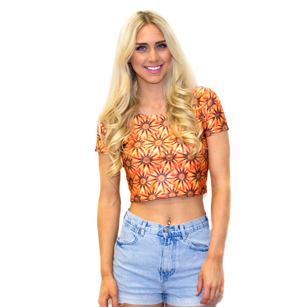 Sunflower Crop Top-Shelfies-S-| All-Over-Print Everywhere - Designed to Make You Smile