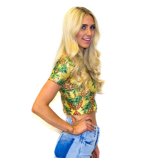 War of The Pineapple Crop Top-Shelfies-S-| All-Over-Print Everywhere - Designed to Make You Smile