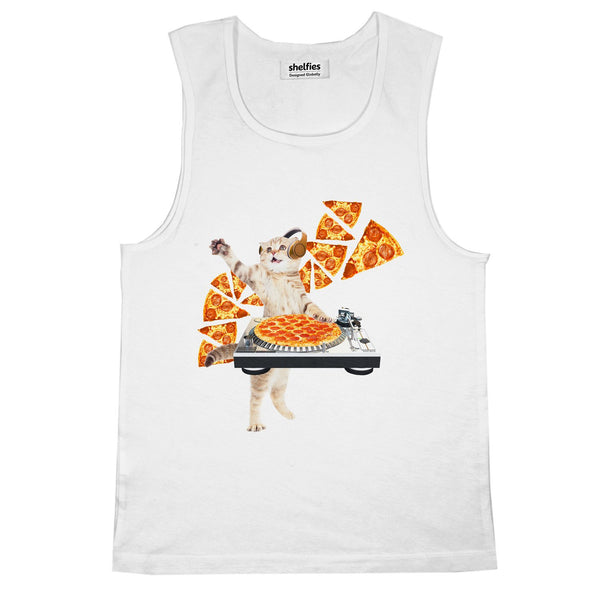 DJ Pizza Cat Basic Tank Top-Printify-White-S-| All-Over-Print Everywhere - Designed to Make You Smile
