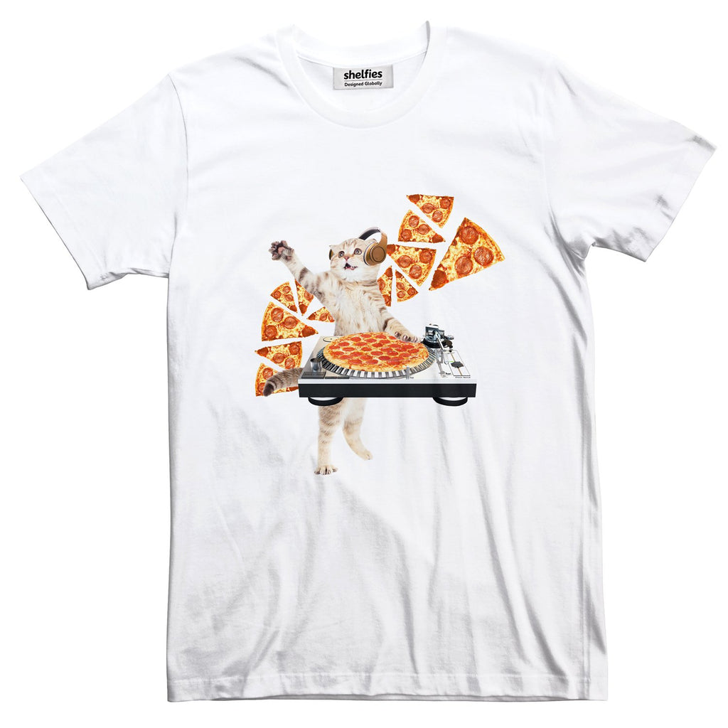 DJ Pizza Cat Basic T-Shirt-Printify-White-S-| All-Over-Print Everywhere - Designed to Make You Smile