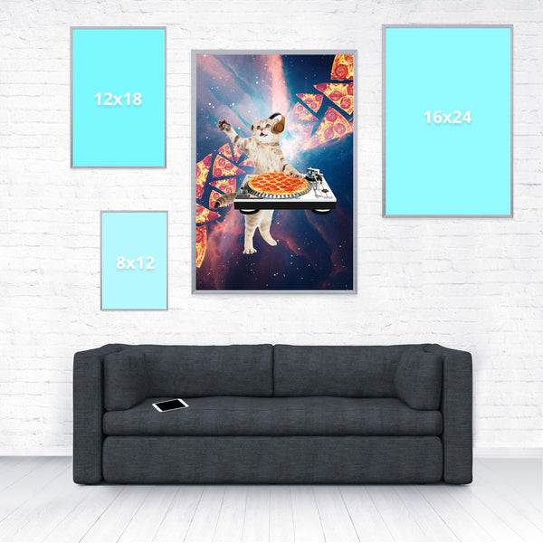 DJ Pizza Cat Poster-Shelfies-20 x 30-| All-Over-Print Everywhere - Designed to Make You Smile