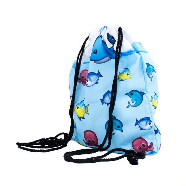 Drawstring Bags - Aquarium Emoji Fish Drawstring Bag