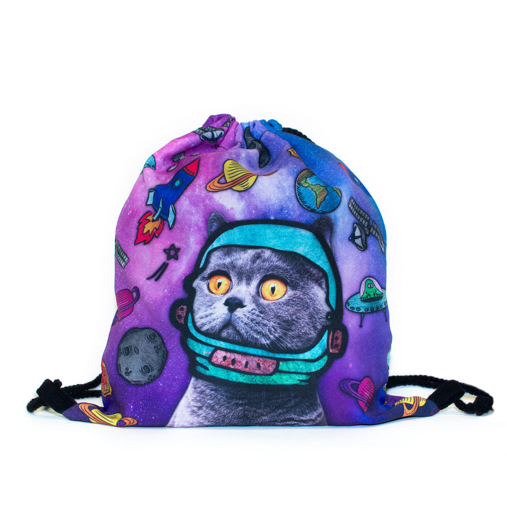 Drawstring Bags - Astro Galaxy Cat Drawstring Bag