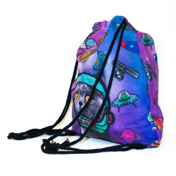 Astro Galaxy Cat Drawstring Bag-Shelfies-One Size-| All-Over-Print Everywhere - Designed to Make You Smile