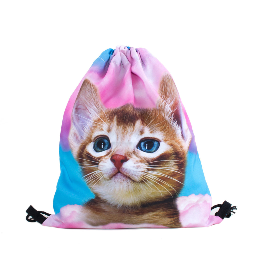 Cat in Pink Clouds Drawstring Bag-Shelfies-| All-Over-Print Everywhere - Designed to Make You Smile