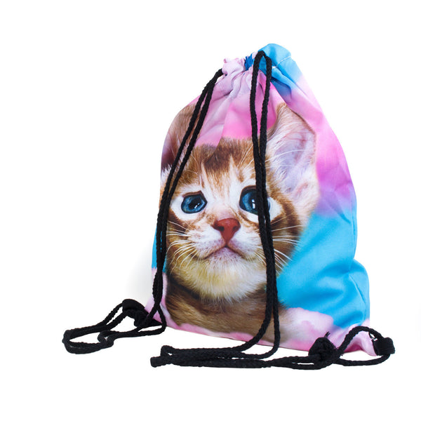 Drawstring Bags - Cat In Pink Clouds Drawstring Bag