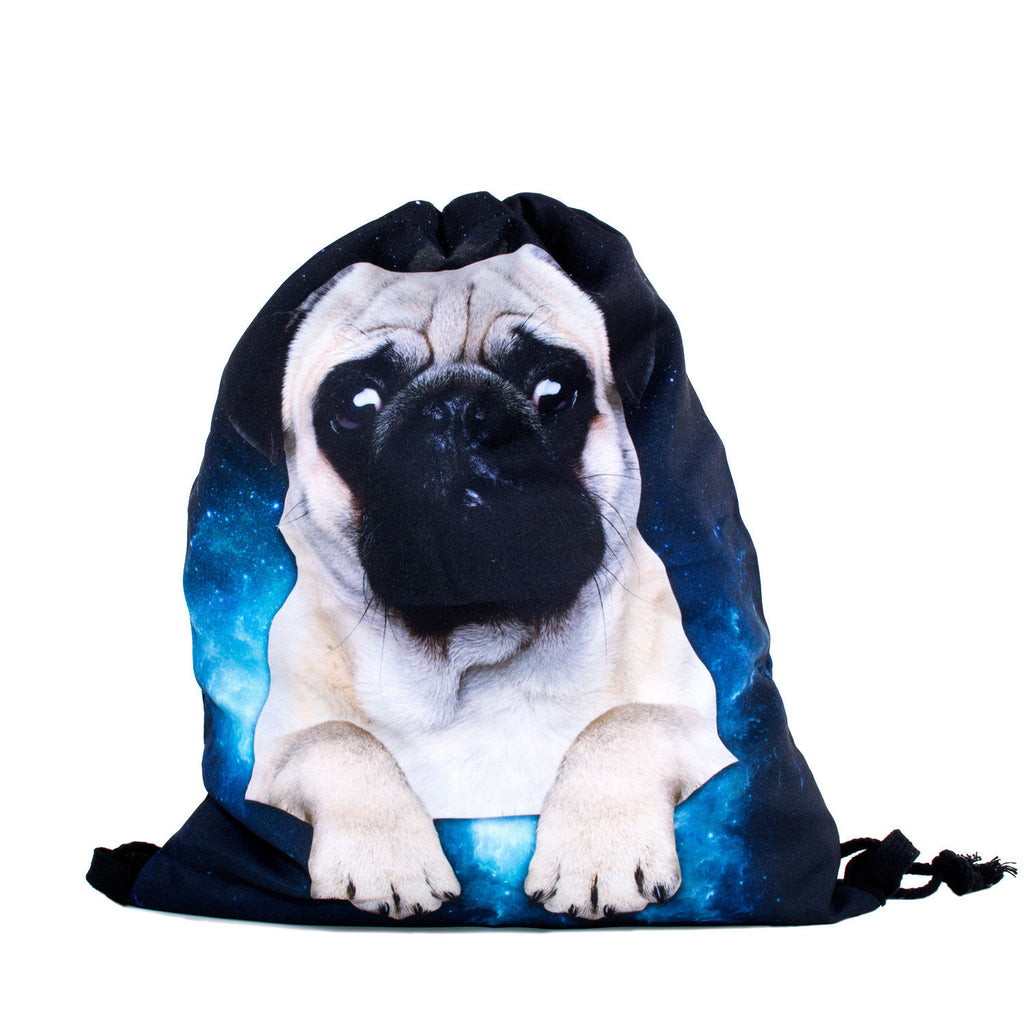 Galactic Pug Drawstring Bag-Shelfies-| All-Over-Print Everywhere - Designed to Make You Smile