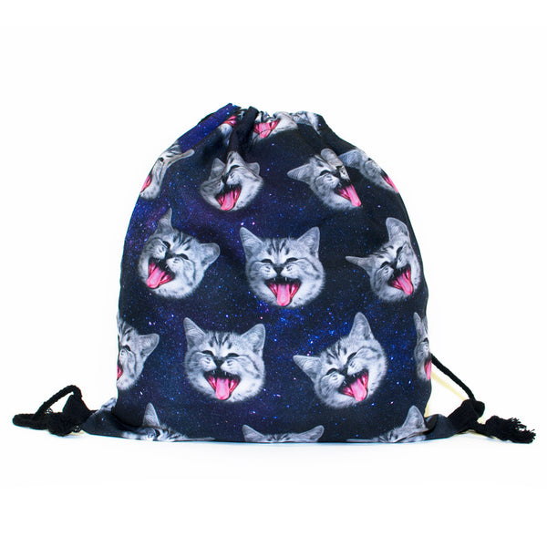 Galaxy Cat Heads Drawstring Bag-Shelfies-| All-Over-Print Everywhere - Designed to Make You Smile
