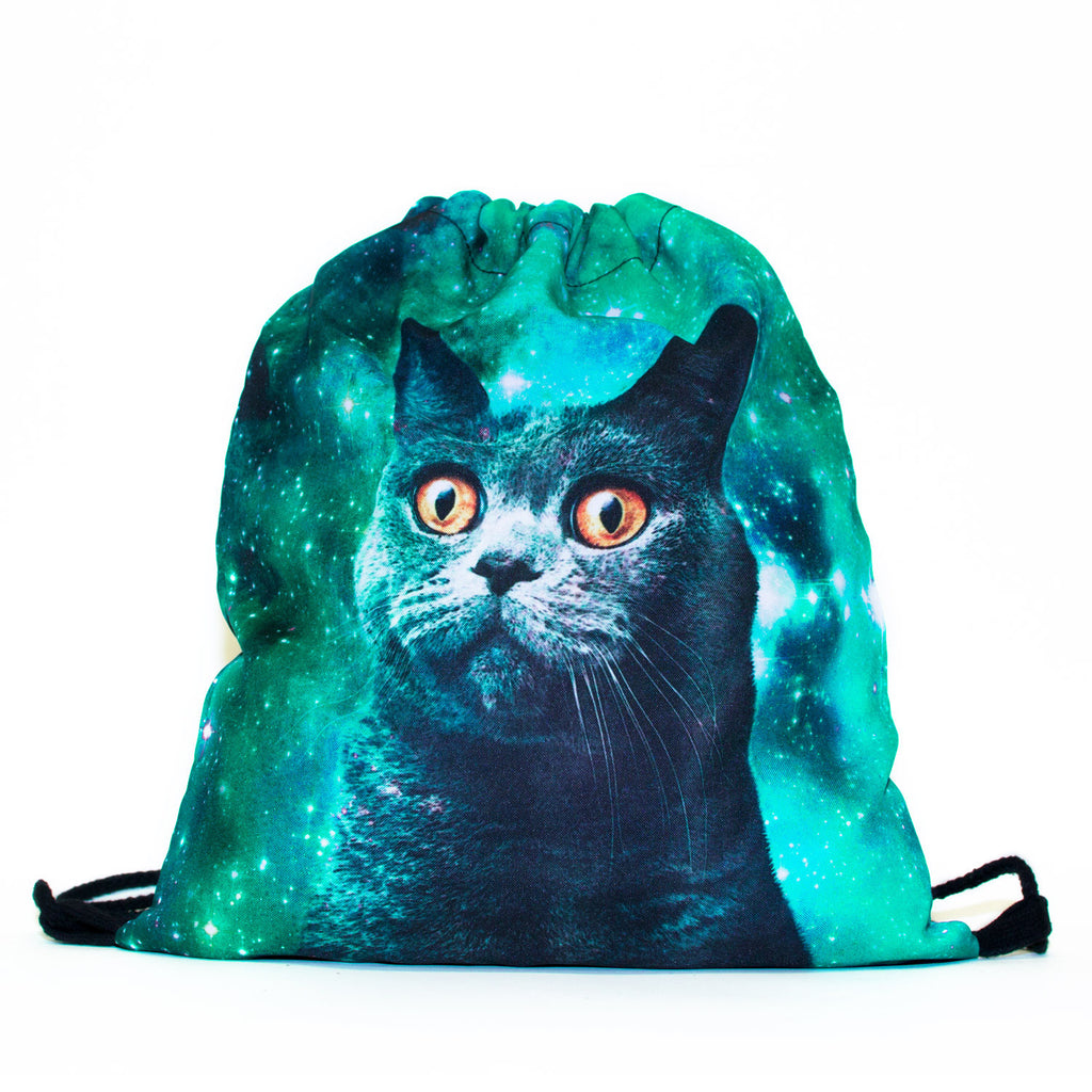 Drawstring Bags - Green Galaxy Cat Drawstring Bag