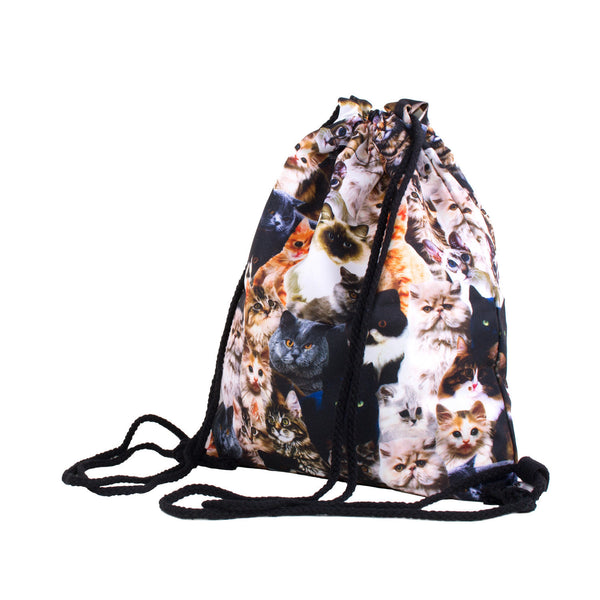 Kitty Invasion Drawstring Bag-Shelfies-| All-Over-Print Everywhere - Designed to Make You Smile