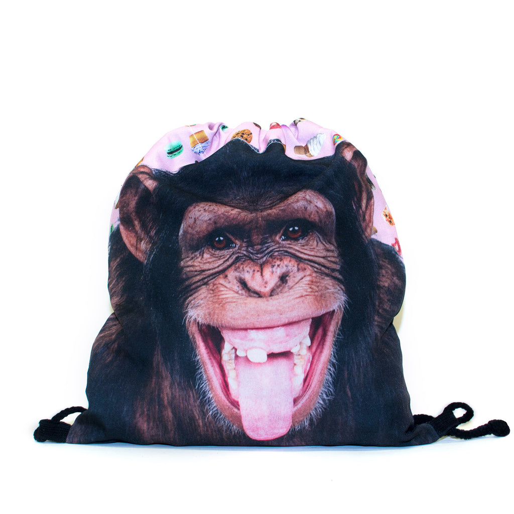 Monkey Face Drawstring Bag-Shelfies-One Size-| All-Over-Print Everywhere - Designed to Make You Smile