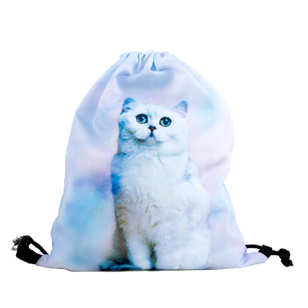 Pastel Clouds Cat Drawstring Bag-Shelfies-One Size-| All-Over-Print Everywhere - Designed to Make You Smile