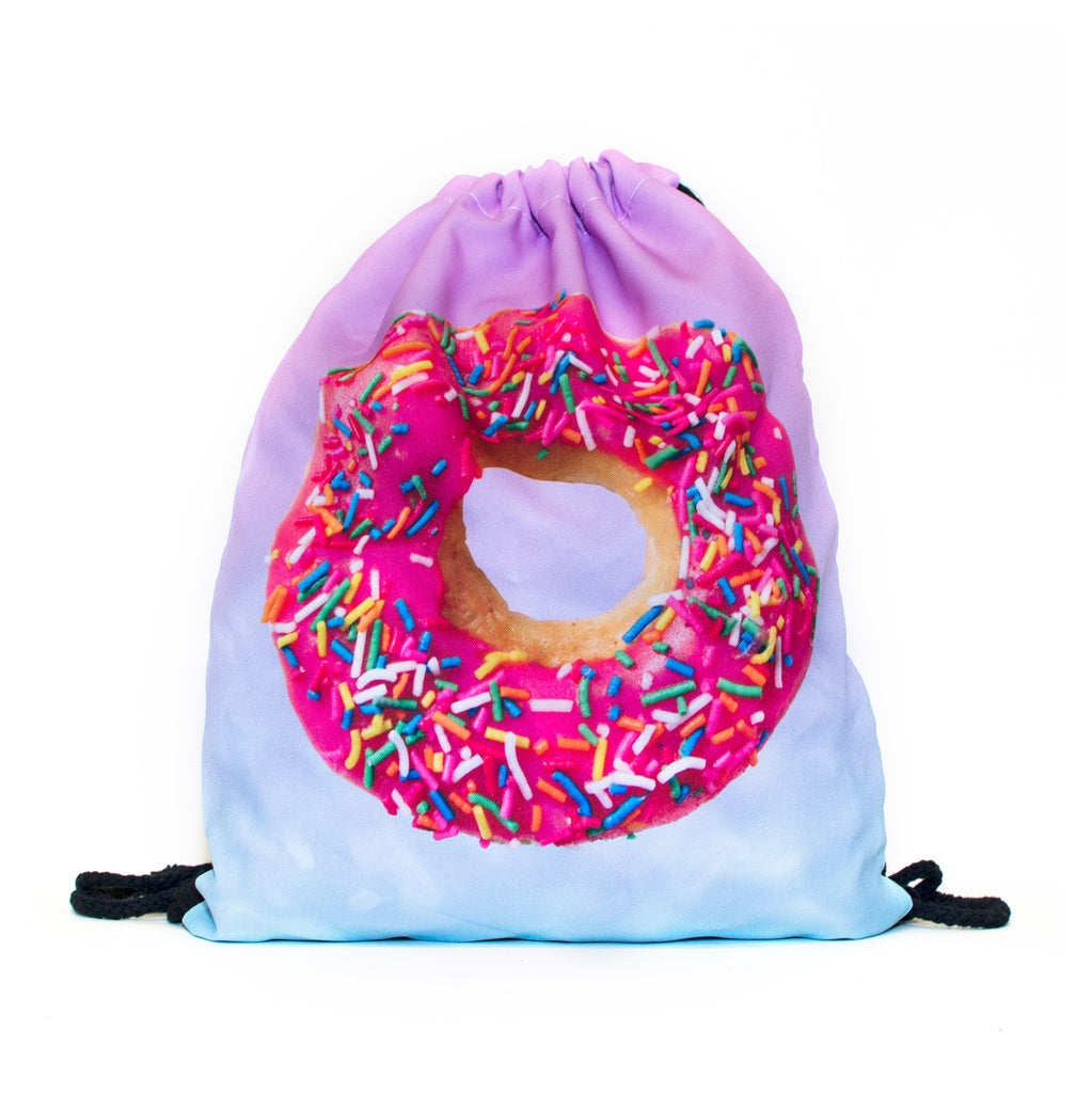 Pink Donut Drawstring Bag-Shelfies-| All-Over-Print Everywhere - Designed to Make You Smile