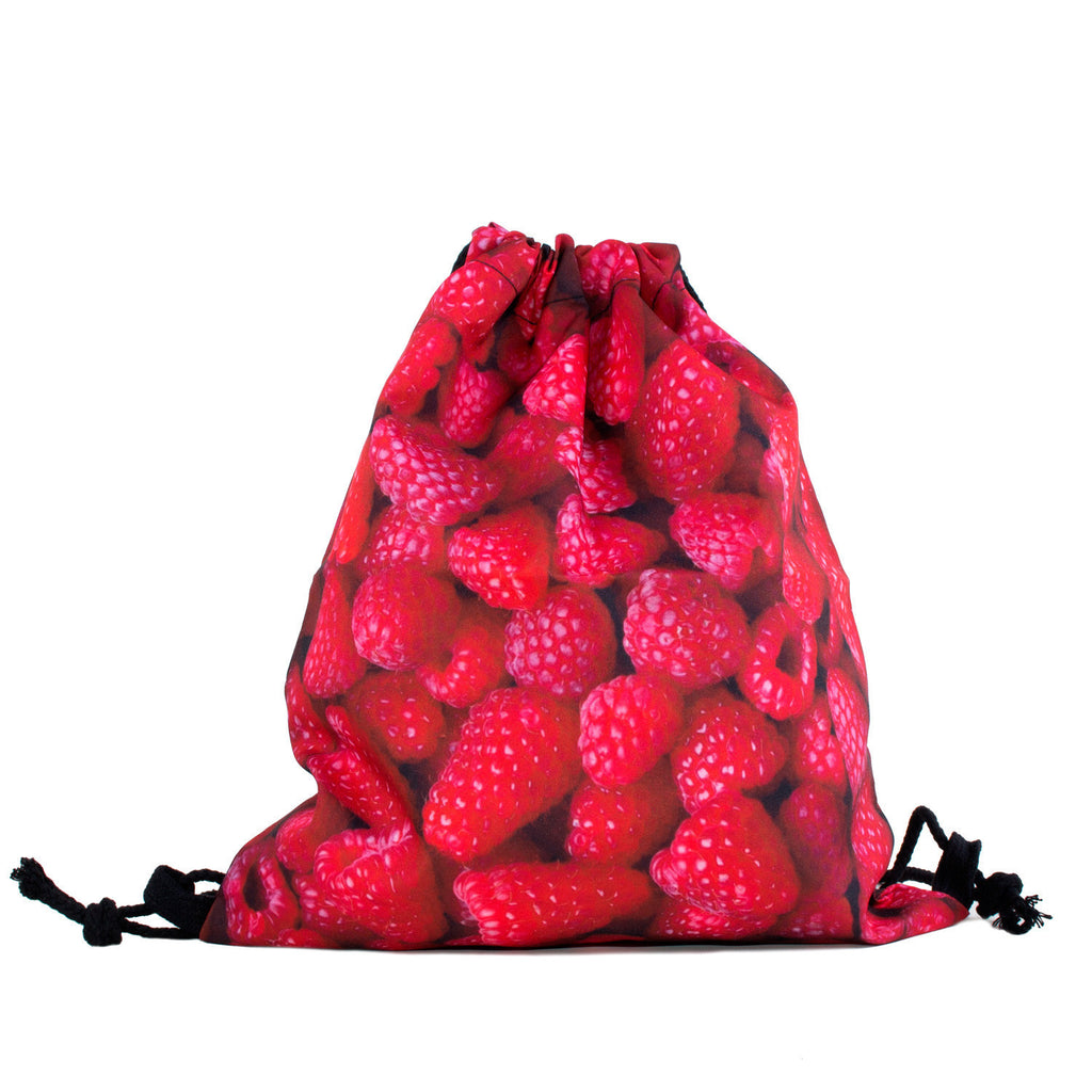 Raspberry Invasion Drawstring Bag-Shelfies-One Size-| All-Over-Print Everywhere - Designed to Make You Smile