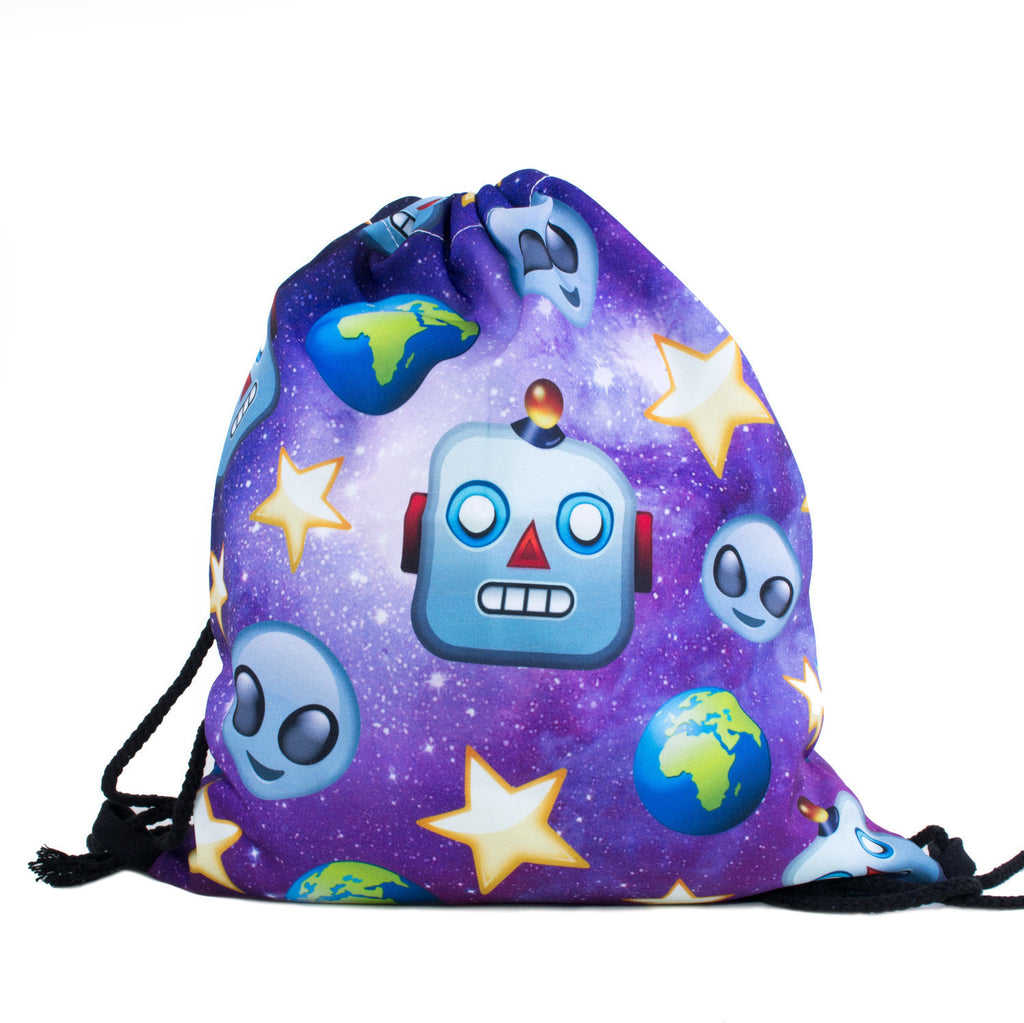 Robot Galaxy Alien Drawstring Bag-Shelfies-| All-Over-Print Everywhere - Designed to Make You Smile