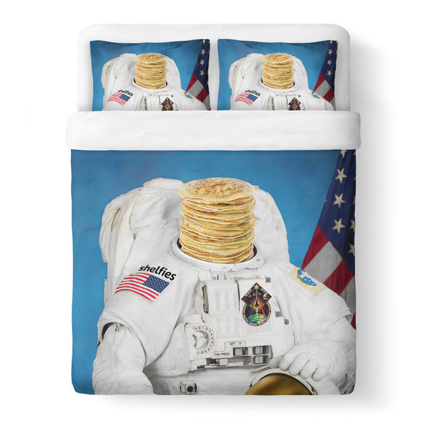 Astronaut Pancakes Duvet Cover Set-Shelfies-Queen + Two Pillow Cases-| All-Over-Print Everywhere - Designed to Make You Smile