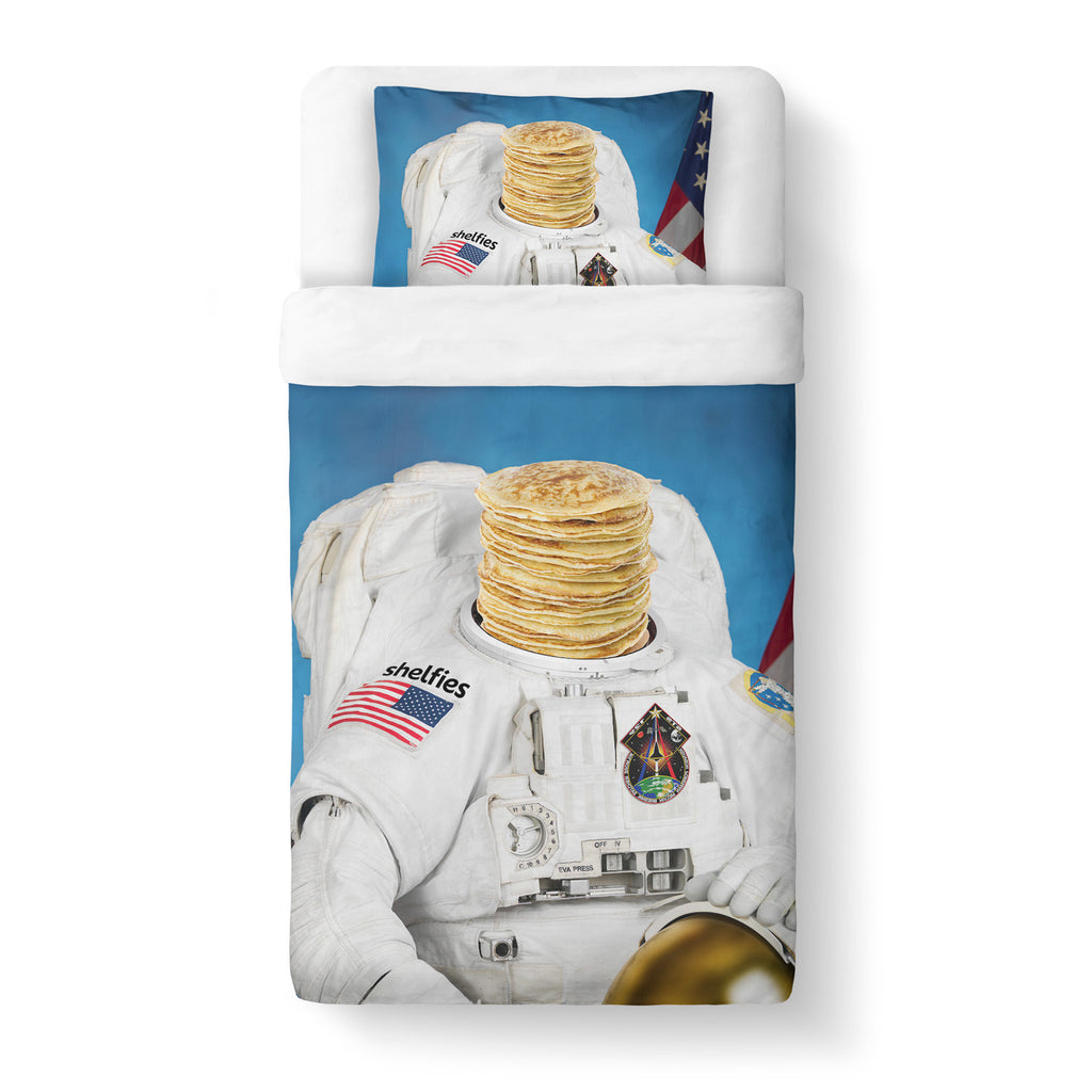 Astronaut Pancakes Duvet Cover Set - Shelfies | All-Over-Print Everywhere - Designed to Make You Smile