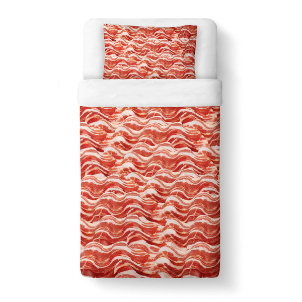Bacon Invasion Duvet Cover Set-Shelfies-Twin + 1 Pillow Case-| All-Over-Print Everywhere - Designed to Make You Smile