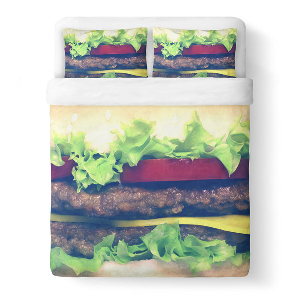 Burger Duvet Cover-Shelfies-Queen-| All-Over-Print Everywhere - Designed to Make You Smile