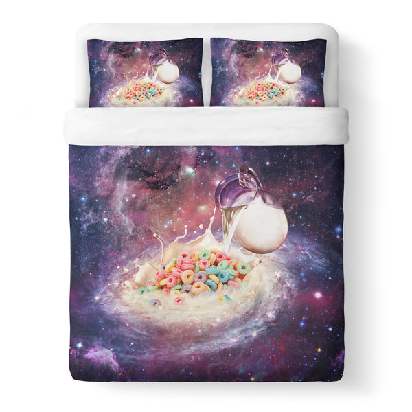 Cereal and Milky Way Duvet Cover Set-Shelfies-Queen + Two Pillow Cases-| All-Over-Print Everywhere - Designed to Make You Smile
