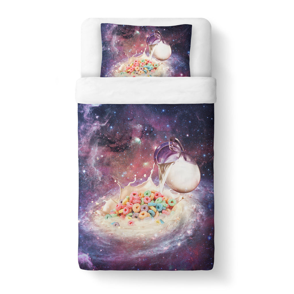 Cereal and Milky Way Duvet Cover-Shelfies-Twin-| All-Over-Print Everywhere - Designed to Make You Smile