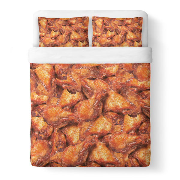 Chicken Wings Invasion Duvet Cover Set-Shelfies-Queen + Two Pillow Cases-| All-Over-Print Everywhere - Designed to Make You Smile