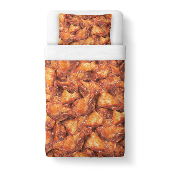 Chicken Wings Invasion Duvet Cover Set-Shelfies-Twin + 1 Pillow Case-| All-Over-Print Everywhere - Designed to Make You Smile
