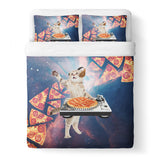 DJ Pizza Cat Duvet Cover Set-Shelfies-Queen + Two Pillow Cases-| All-Over-Print Everywhere - Designed to Make You Smile