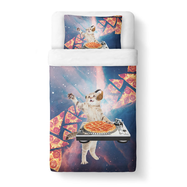 DJ Pizza Cat Duvet Cover Set-Shelfies-Twin + 1 Pillow Case-| All-Over-Print Everywhere - Designed to Make You Smile