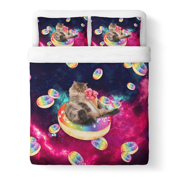 Donut Cat-astrophy Duvet Cover-Gooten-Queen-| All-Over-Print Everywhere - Designed to Make You Smile
