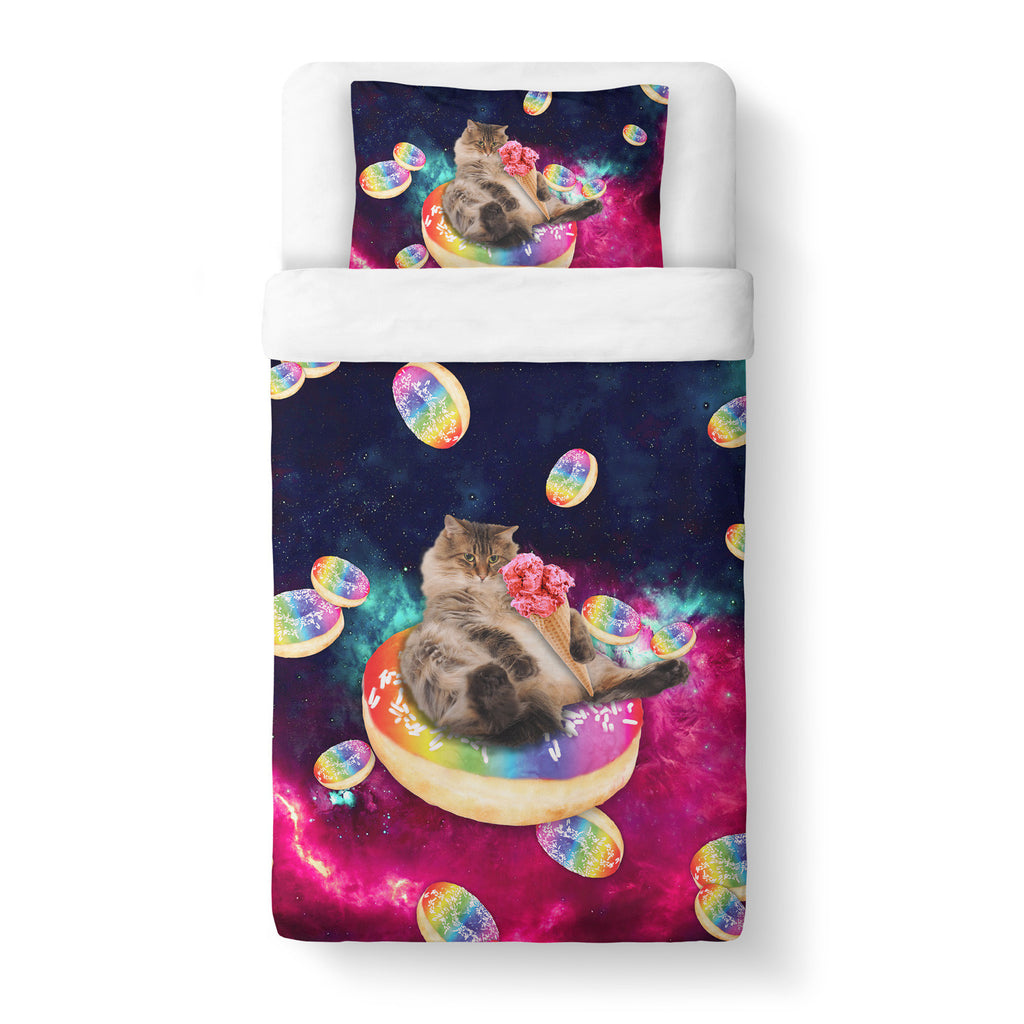Donut Cat-astrophy Duvet Cover-Gooten-Twin-| All-Over-Print Everywhere - Designed to Make You Smile