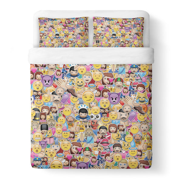 Emoji Invasion Duvet Cover Set-Shelfies-Queen + Two Pillow Cases-| All-Over-Print Everywhere - Designed to Make You Smile