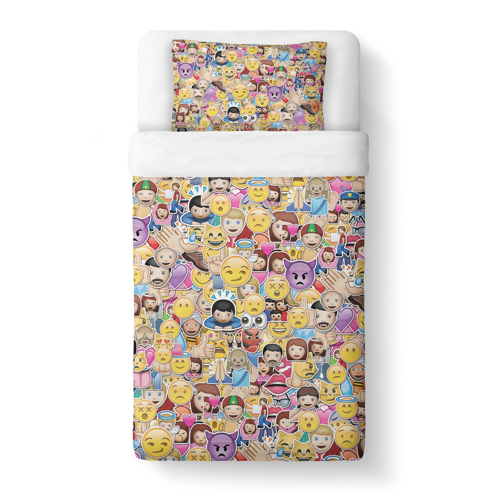 Emoji Invasion Duvet Cover-Shelfies-Twin-| All-Over-Print Everywhere - Designed to Make You Smile