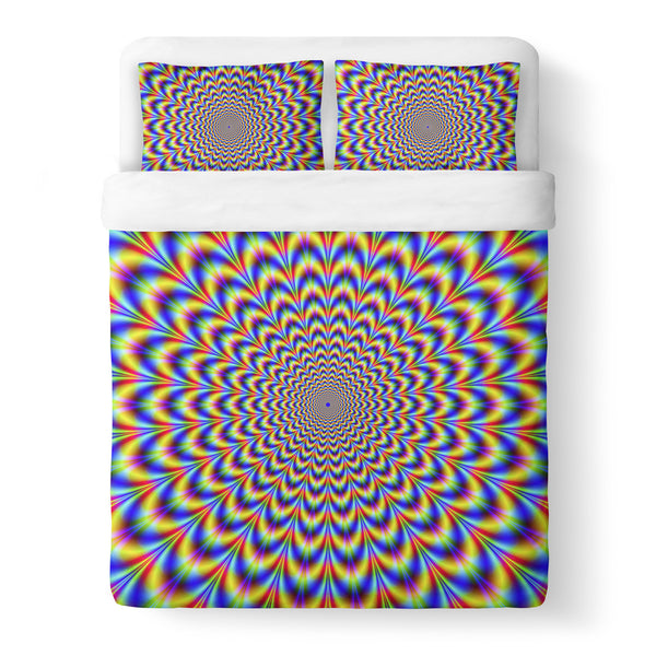 Fractal Pulse Duvet Cover Set-Shelfies-Queen + Two Pillow Cases-| All-Over-Print Everywhere - Designed to Make You Smile
