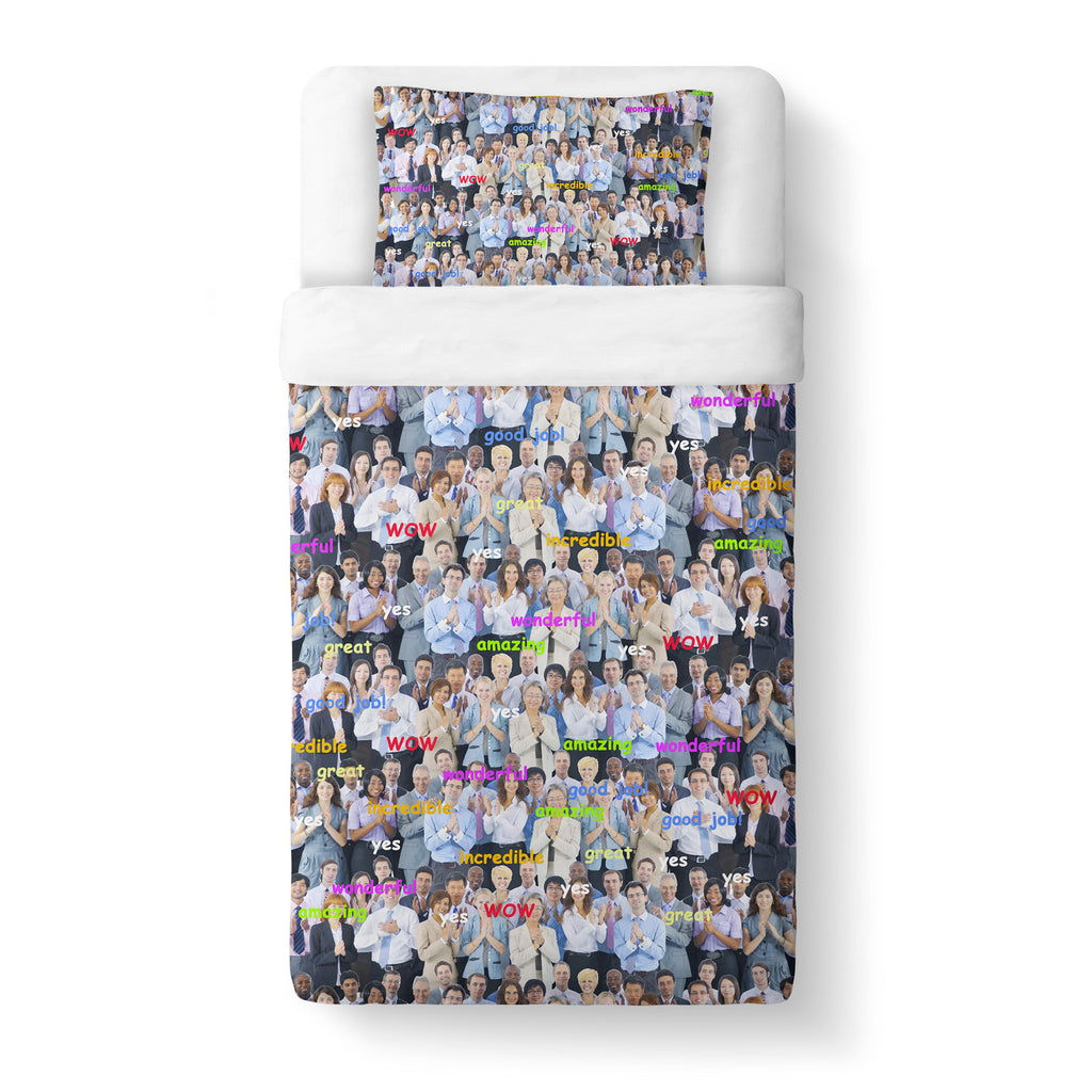 Happy Business Invasion Duvet Cover-Shelfies-Twin-| All-Over-Print Everywhere - Designed to Make You Smile