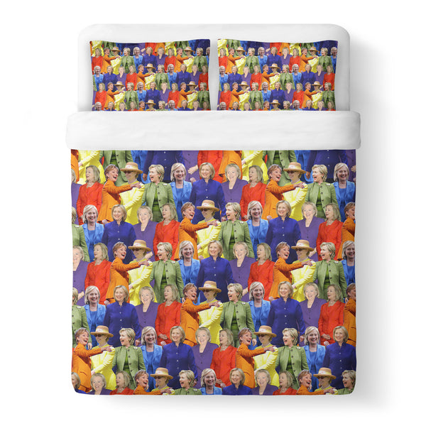 Hillary Clinton Rainbow Duvet Cover Set-Shelfies-Queen + Two Pillow Cases-| All-Over-Print Everywhere - Designed to Make You Smile