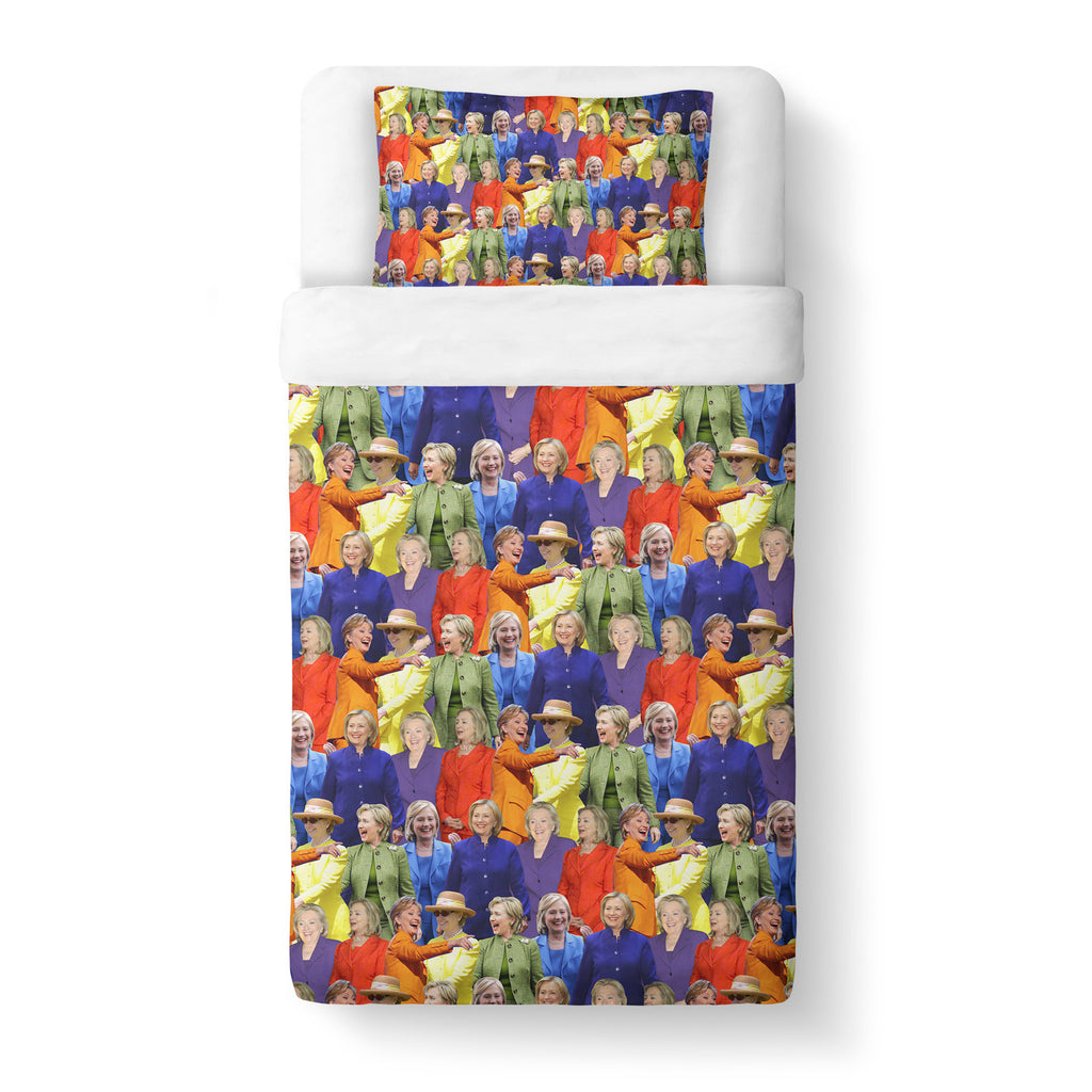 Hillary Clinton Rainbow Duvet Cover Set-Shelfies-Twin + 1 Pillow Case-| All-Over-Print Everywhere - Designed to Make You Smile