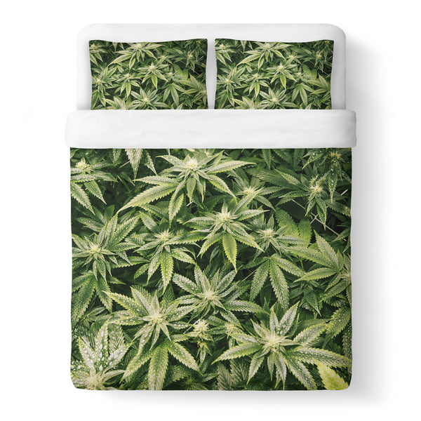 Kush Leaves Duvet Cover Set-Shelfies-Queen + Two Pillow Cases-| All-Over-Print Everywhere - Designed to Make You Smile