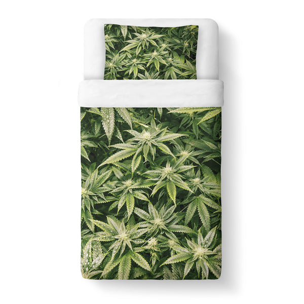 Kush Leaves Duvet Cover Set-Shelfies-Twin + 1 Pillow Case-| All-Over-Print Everywhere - Designed to Make You Smile