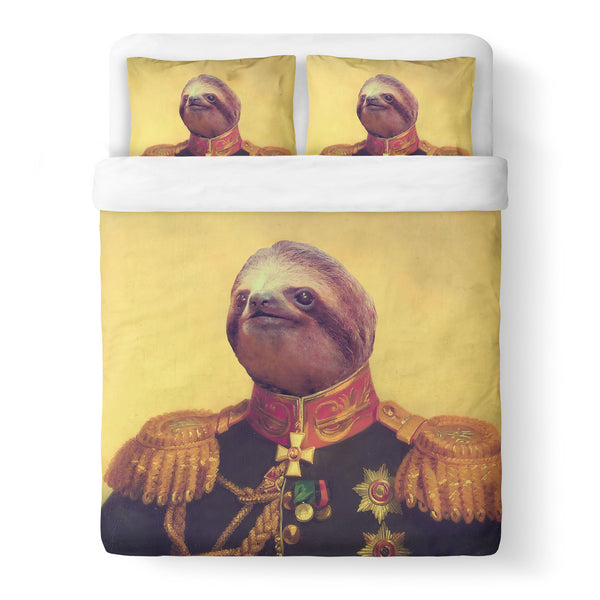 Lil' General Sloth Duvet Cover Set-Shelfies-Queen + Two Pillow Cases-| All-Over-Print Everywhere - Designed to Make You Smile