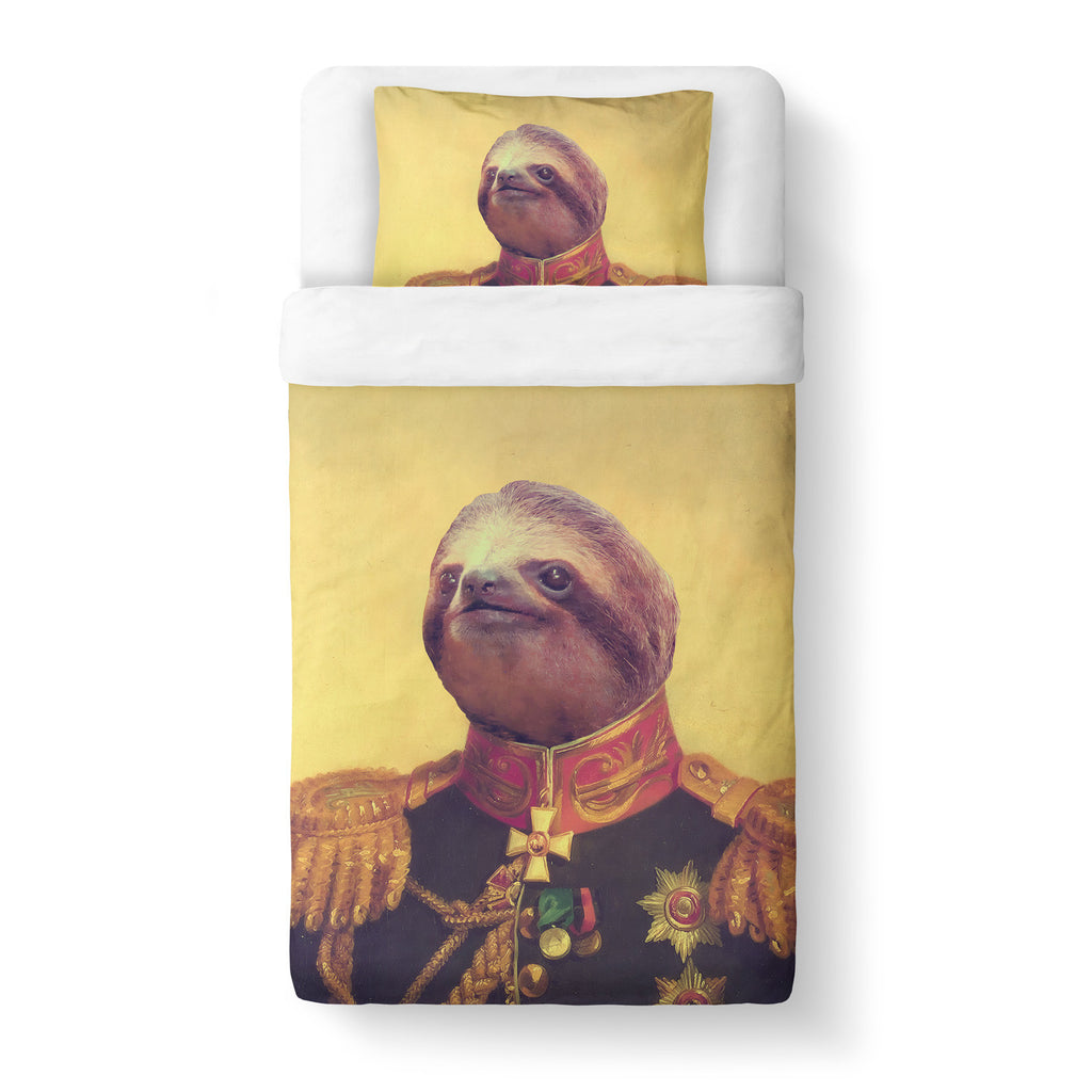 Lil' General Sloth Duvet Cover Set-Shelfies-Twin + 1 Pillow Case-| All-Over-Print Everywhere - Designed to Make You Smile
