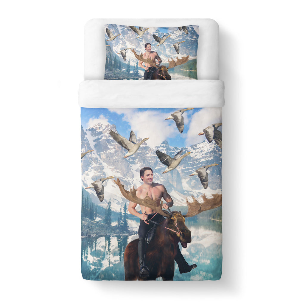 Moosin' Trudeau Duvet Cover-Shelfies-Twin-| All-Over-Print Everywhere - Designed to Make You Smile